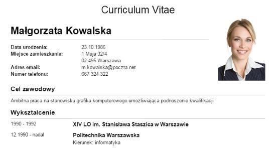 как составить резюме Cv Curriculum Vitae в польше пример
